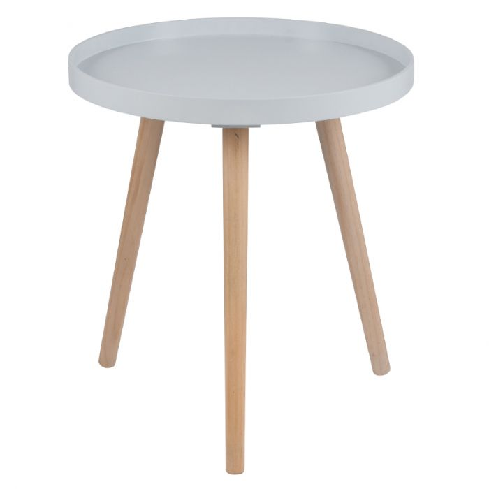 Grey Pine Wood Mdf Round Table Large Dimensions W 41 Cm X D 41 Cm X H 45 Cm This Side Table Is Compact Enough To Be Used As Additional Storage Or Display In