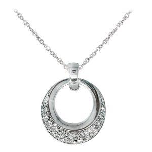 Silver Circle Polished & Pave Pendant