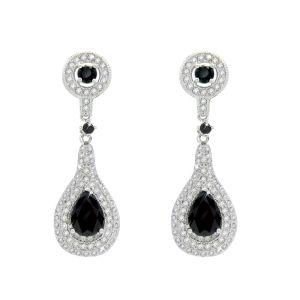 Silver Drop Earrings With Black Cz
