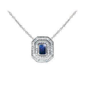 Silver Pendant Sapphire & White Stone Surrount