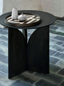 Teak Fin Black Side Table - Varnished