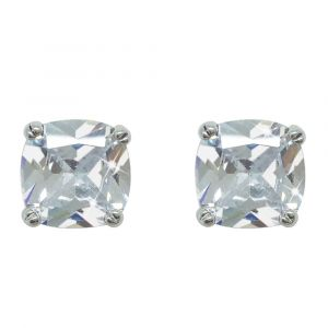 Silver Square Earrings With Clear Stone