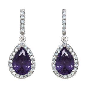 Silver Pear Shape Earrings With Purple Stone