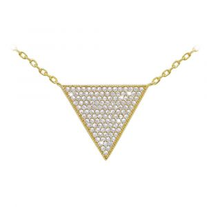 Gold Paved Triangle Necklace