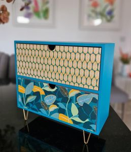 2 DRW Feuil-Col Blue Yellow MDF Box