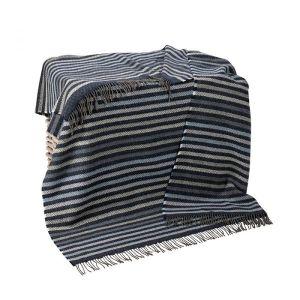 merino cashmere throw blue denim pale grey stripe