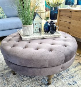 Ruby Round Footstool grey