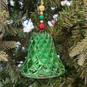 Glass Bell Ornament - Green
