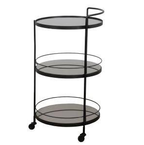 Lucy Bar Cart - 3 Charcoal Mirror Shelves