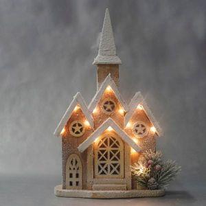 Xmas Wooden Church Light up 20.5 x 10 x 35.5cm