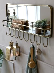 Metal Mirror With Shelf And 8 Hooks