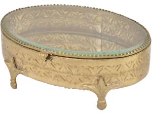 Amelia Antique Brass Oval Jewellery Box