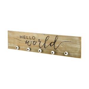 Hello World Wood Hook Sign