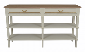 Adele 2 Drawer Console Table with 2 Shelves Wood Top