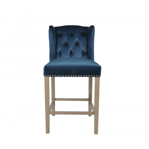 Kansas Navy Velvet Stool