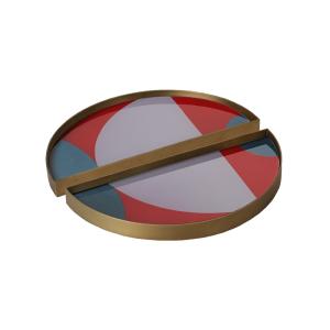 Blush Curve Glass Tray Metal Rim Mini Half Moon