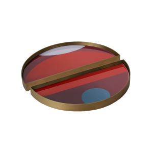 Garnet Curve Glass Tray Metal Rim Mini Half Moon