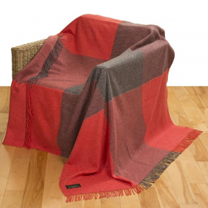 Red/Grey Merino Lambswool Throw 150x200
