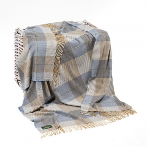 Light Brown Grey Merino Lambswool Throw 137x180