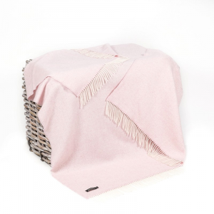 Pale Pink Herringbone Merino Wool Throw 136x180