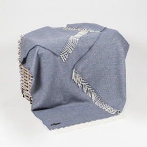 Denim/Cream Herringbone Merino Wool Throw 136x180