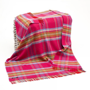 Pink/Blue/Green Check Merino Wool Throw 136x180
