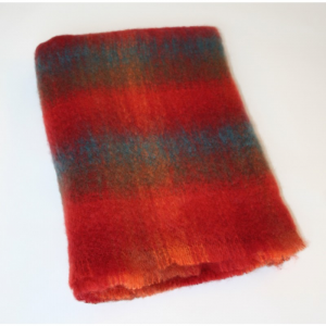 Red/Blue Mohair Throw 137x114