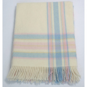 Wool Baby Blanket Baby Pink/Blue Cream 70x100
