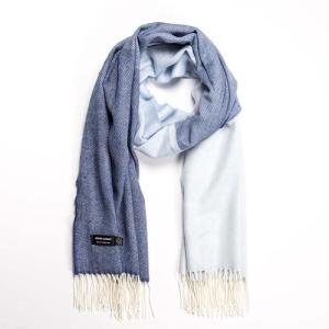 Wrap Merino Wool Denim/Light Blue 76x200