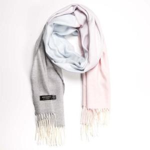 Wrap Merino Wool Light Pink/Light Blue/Light Grey 76x200