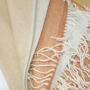 Wrap Merino Wool Orange/Brown/Light Grey 76x200