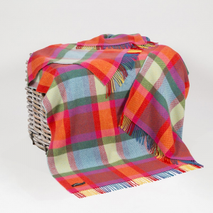 Red/Blue/Green/Yellow Check Merino Wool Throw 136x180