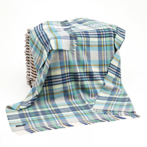 Dark Blue/Blue/Light Blue/Yellow Check Merino Wool Throw 136x180