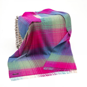 Green/Pink/Purple Check Merino Wool Throw 136x180