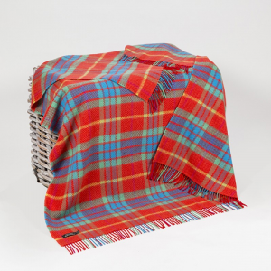 Orange/Blue/Yellow Check Merino Wool Throw 136x180