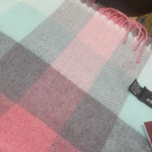Scarf Merino Wool Green/Pink/Grey 30x180