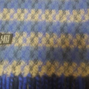 Unisex Scarf Wool/Cashmere Dark Blue/Light Brown 24x200