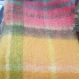 Orange/Pink/Green Mohair Throw 137x114