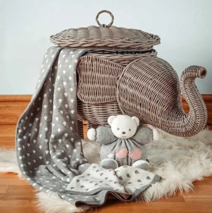 Elephant Baby Blanket Grey