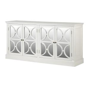 White Farence 4 Drawer Mirror Sideboard