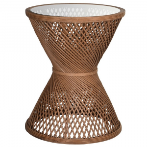 Criss cross cane woven sidetable with glass top
