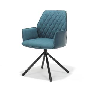 George Petrol Dining Chair Metal Legs