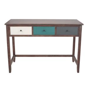 Pine Wood Multicoloured 3 DRW Desk