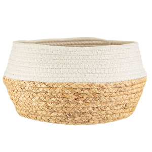 White Dip Rope & Grass Basket