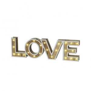 Wood Style Love Sign With Led
