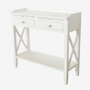 White Wooden Console With 2 DRW And Shelf