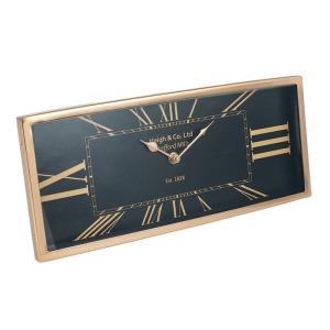 Antique Brass & Black Metal Oblong Desk Clock