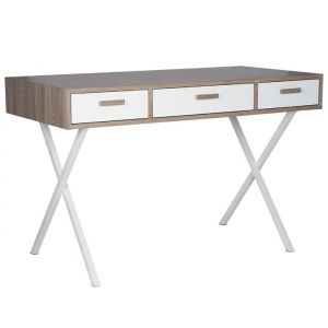 Natural & White Wood Veneer 3 Drawer Desk