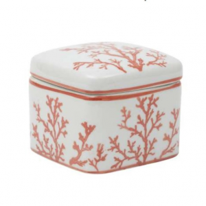 Square Porcelain Box Estran Coral/White