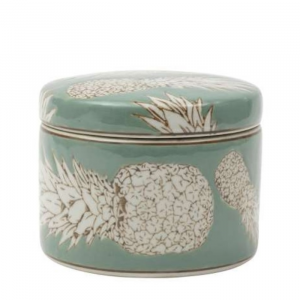 Round Porcelain Box Qing Sea Green